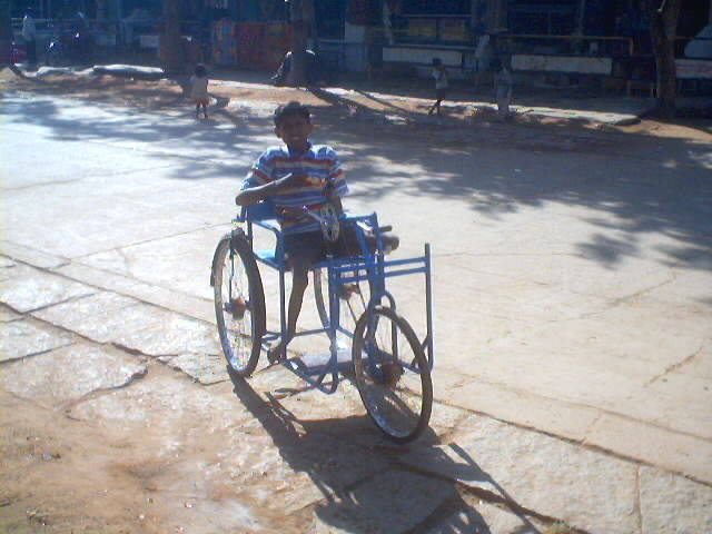 Improvised wheelchair for a kid
