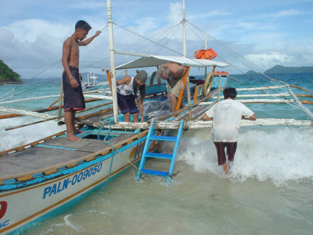 The kind of boat that is commonly used in Palawan.