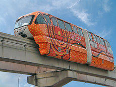 Red and colorful monorail