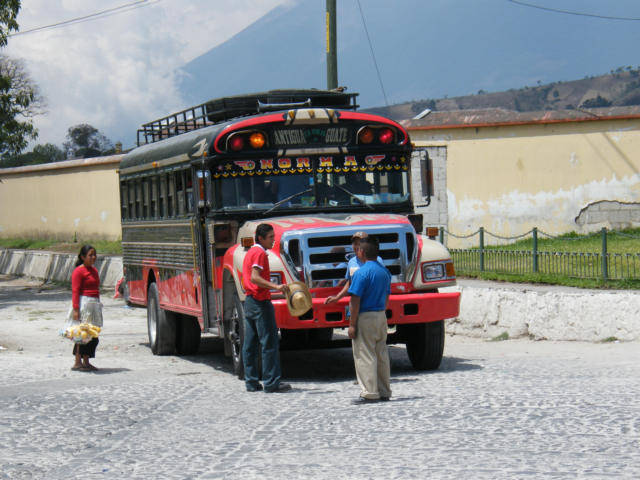 Old American School bus made into a Chicken Bus in Antigua Guatemala