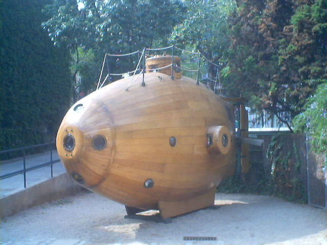 Wooden submarine on display title=