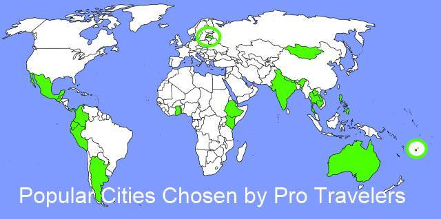 Popular Cities Map by Pro Travelers