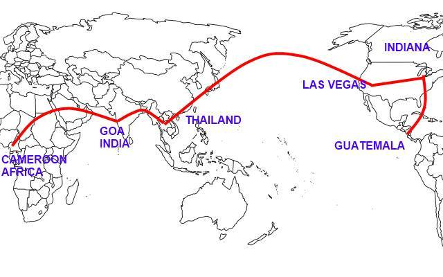 Map of Andy to Thailand and India